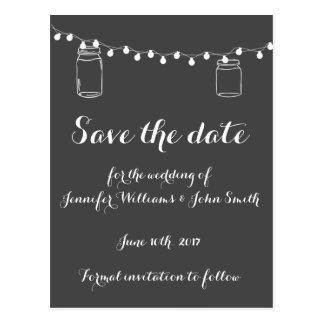 Mason jar lights save the date cards