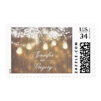 Mason Jar Lights String Lights Wood Lace Wedding Postage