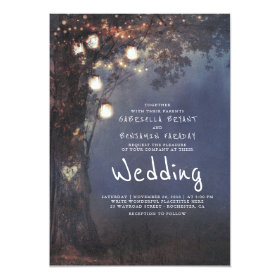 Mason Jar Lights Tree Carved Heart Rustic Wedding Invitation