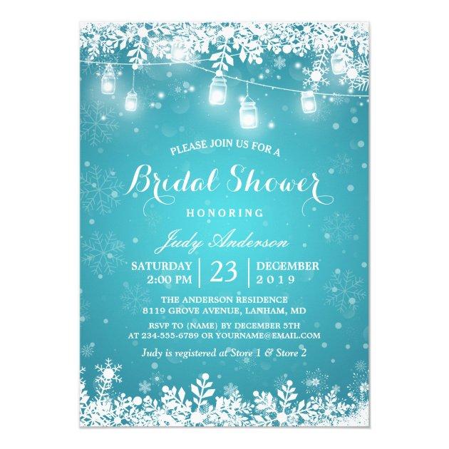 Mason Jar Lights Turquoise Winter Bridal Shower Card