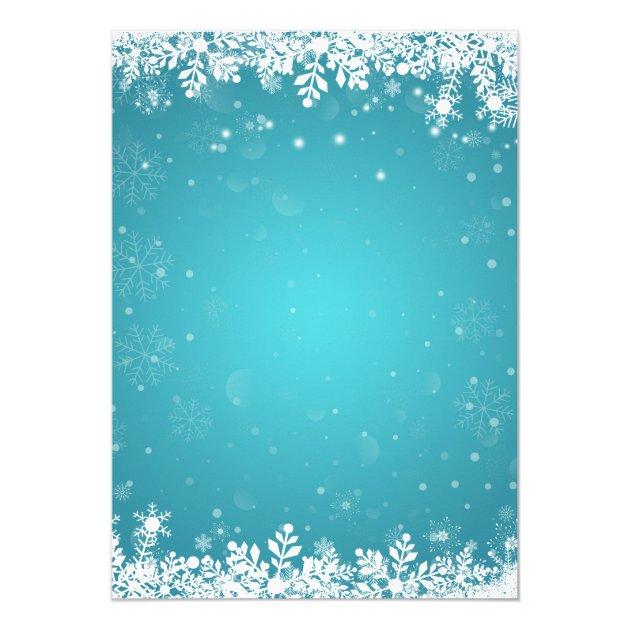 Mason Jar Lights Turquoise Winter Bridal Shower Card (back side)