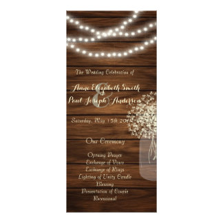 Mason jar lights Wedding Program Personalized Rack Card