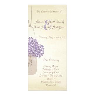 Mason jar lilac hydrangea Wedding Program Custom Rack Card