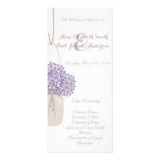Mason jar lilac & white hydrangea Program