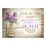 mason jar & lilacs save the date 5x7 paper invitation card