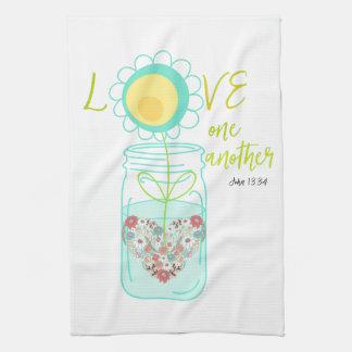 Mason Jar: Love Bible Verse Hand Towel