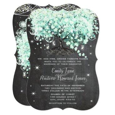 Valentines Themed Mason Jar Mint Chalkboard Heart Leaf Tree Card