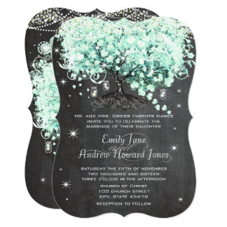 Mason Jar Mint Chalkboard Heart Leaf Tree Invitation