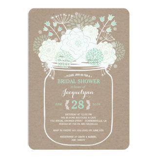 Mason Jar Mint Spring Blooms Bridal Shower Invite