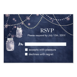 Mason Jar Navy Blue Chalkboard RSVP Cards