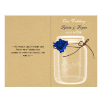 mason jar navy blue rose book fold Wedding program