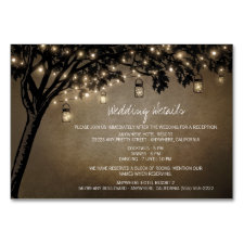 Mason Jar Oak Tree Reception Accommodation Cards