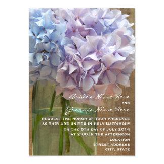 Mason Jar Of Blue & Purple Hydrangeas Wedding Card