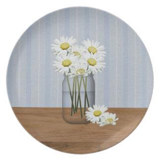 Mason Jar Of Daisies Plate