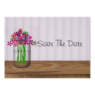 Mason Jar Of Flowers Save The Date Card