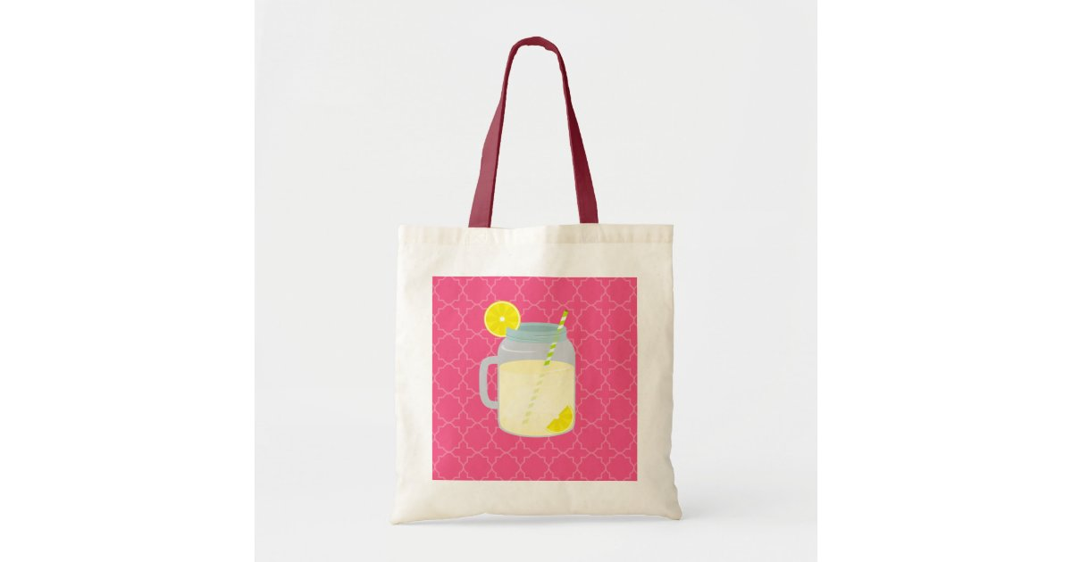 Mason Jar Of Lemonade + Berry Quatrefoil Tote Bag Zazzle