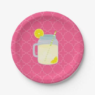 Mason Jar Of Lemonade Quatrefoil Paper Plate