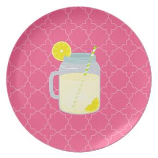 Mason Jar Of Lemonade Quatrefoil Plate