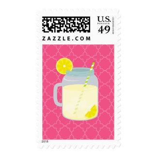 Mason Jar Of Lemonade Quatrefoil Postage