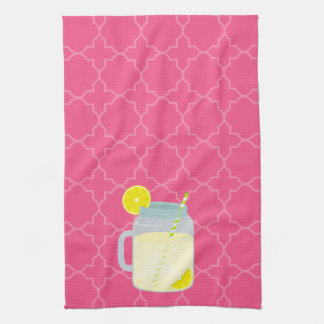 Mason Jar Of Lemonade Quatrefoil Towel