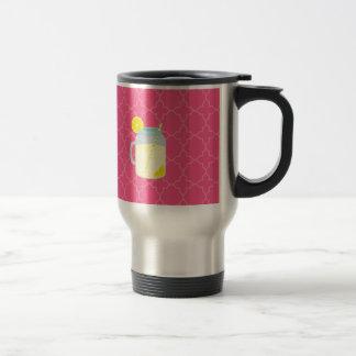 Mason Jar Of Lemonade Quatrefoil Travel Mug