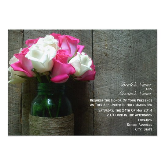 Mason Jar of Pink and White Roses Barn Wedding Card