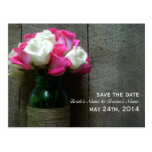 Mason Jar Of Roses & Barnwood Save The Date Postcards