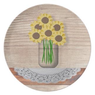 Mason Jar Of Sunflowers Plate
