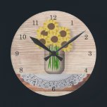 "Mason Jar Of Sunflowers Wall Clock<br><div class=""desc"">This Mason Jar of Sunflowers Wall Clock features my mouse drawn art and is perfect for a country or vintage kitchen.</div>"