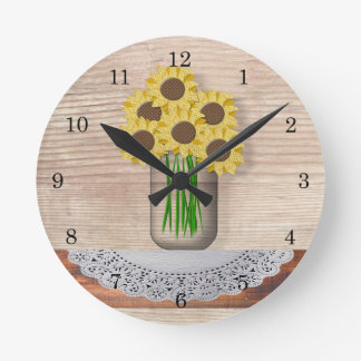 Mason Jar Of Sunflowers Wall Clock