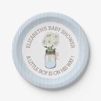 Mason Jar on Blue Stripes Baby Shower Paper Plate