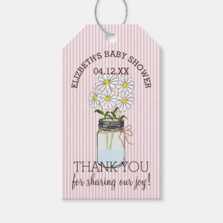 Mason Jar on Pink Stripes Baby Shower Thank You Gift Tags