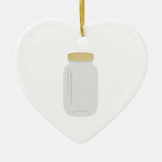 Mason Jar Double-Sided Heart Ceramic Christmas Ornament