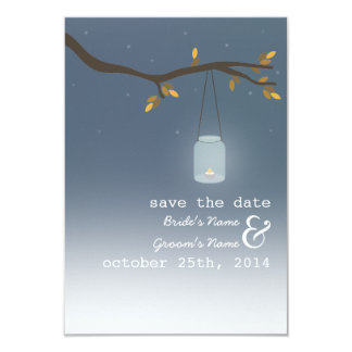 Mason Jar Outdoor Evening Fall Save The Date 3.5x5 Paper Invitation Card
