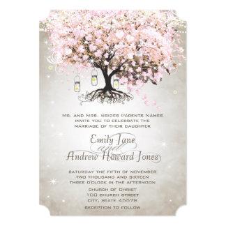 Mason Jar Pale Pink Heart Leaf Tree Wedding Custom Invite