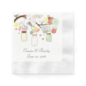 Mason Jar Paper Wedding Napkins Coined Cocktail Napkin