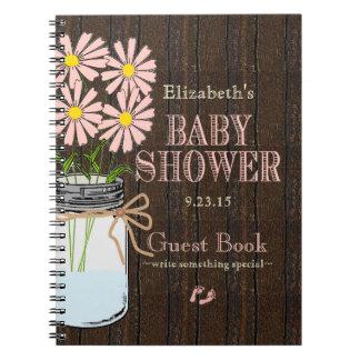 Mason Jar Peach Flowers Country Shower Guest Book- Spiral Notebook