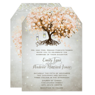 Mason Jar Peachy Pink Heart Leaf Tree Wedding Card