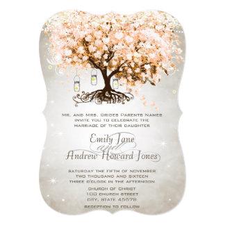 Mason Jar Peachy Pink Heart Leaf Tree Wedding Card