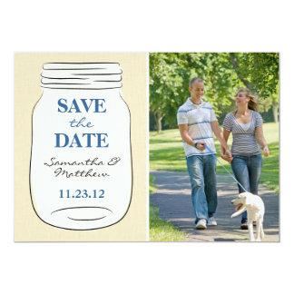 """Mason Jar Photo Save the Date Card - Blue 5"""" X 7"""" Invitation Card"""