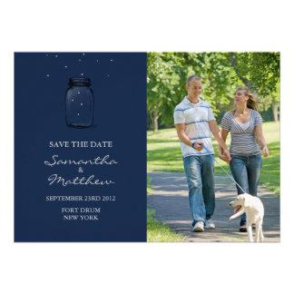 Mason Jar Photo Save the Date Card - Dark Blue