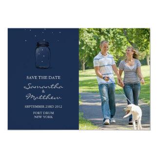 """Mason Jar Photo Save the Date Card - Dark Blue 5"""" X 7"""" Invitation Card"""