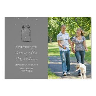 """Mason Jar Photo Save the Date Card - Grey 5"""" X 7"""" Invitation Card"""