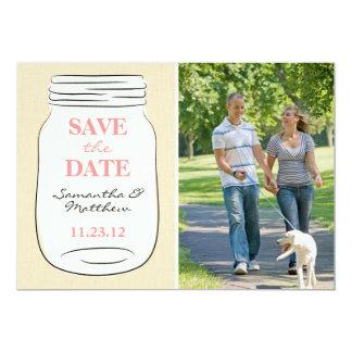 """Mason Jar Photo Save the Date Card - Pink 5"""" X 7"""" Invitation Card"""