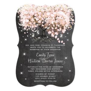 Mason Jar Pink Chalkboard Heart Leaf Tree Cards
