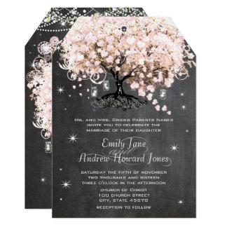 Mason Jar Pink Chalkboard Heart Leaf Tree Invitation