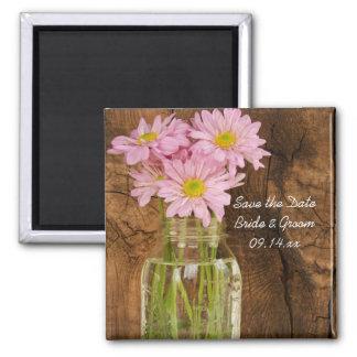 Mason Jar Pink Daisies Barn Wedding Save the Date Magnet