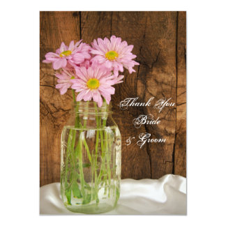 Mason Jar Pink Daisies Barn Wedding Thank You Card
