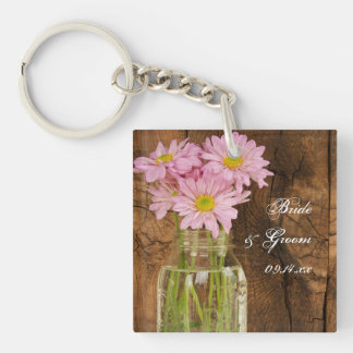 Mason Jar Pink Daisies Country Barn Wedding Keychain