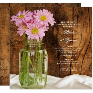 Mason Jar Pink Daisies Country Post Wedding Brunch Card